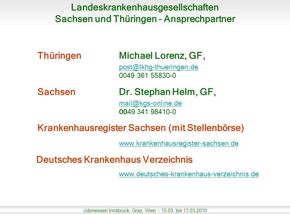 Jobmessen Innsbruck, Graz, Wien - 15.03. bis 17.03.2010 ThüringenMichael Lorenz, GF, post@lkhg-thueringen.de 0049 361 55830-0 Sachsen Dr. Stephan Helm