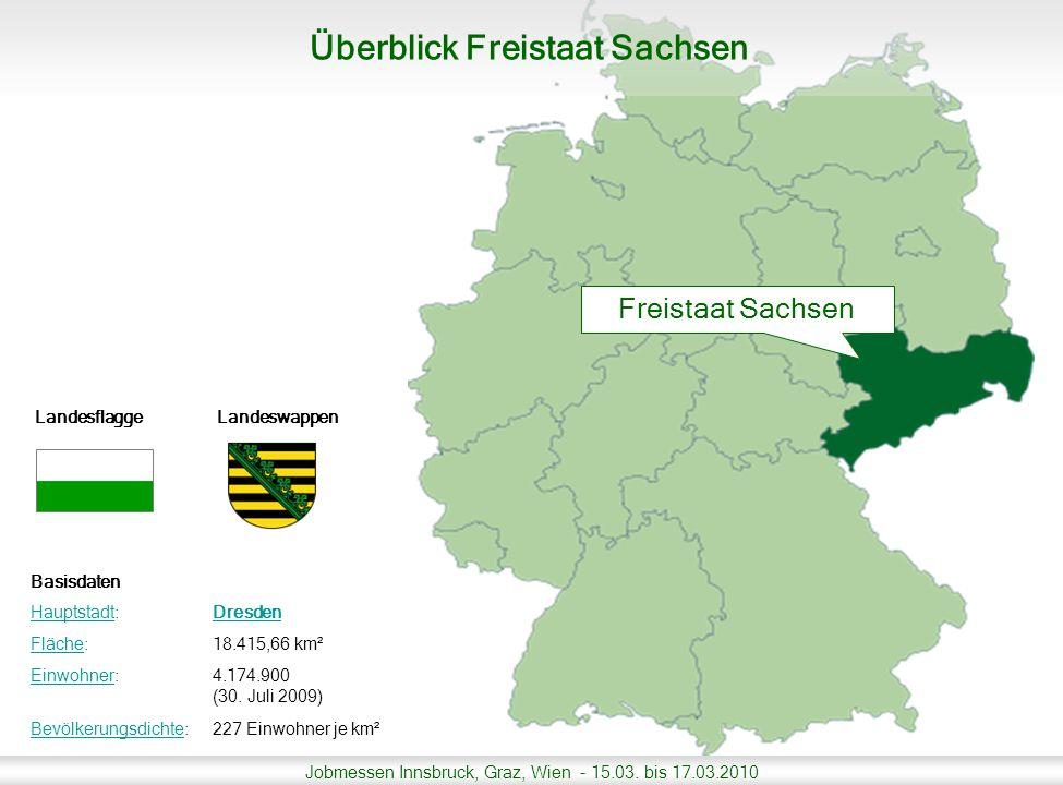 Jobmessen Innsbruck, Graz, Wien - 15.03. bis 17.03.2010 Landesflagge Landeswappen Basisdaten HauptstadtHauptstadt:Dresden FlächeFläche:18.415,66 km² E