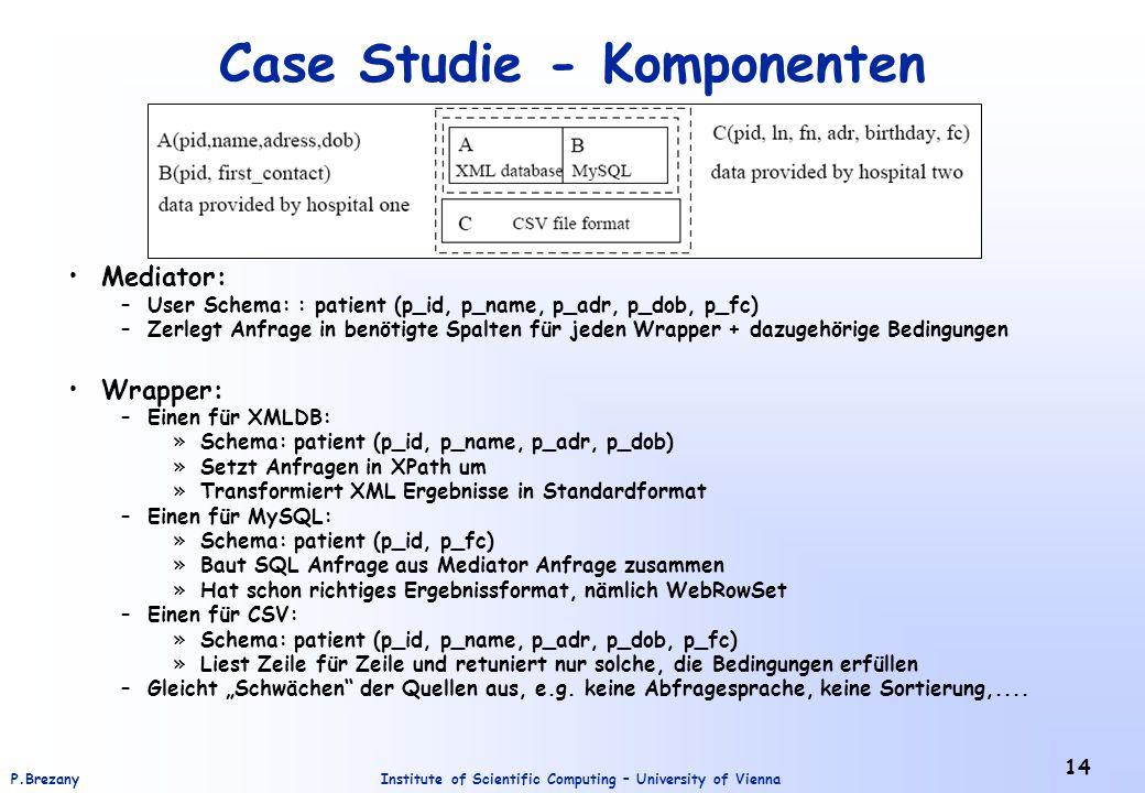 Institute of Scientific Computing – University of ViennaP.Brezany 14 Case Studie - Komponenten Mediator: –User Schema: : patient (p_id, p_name, p_adr, p_dob, p_fc) –Zerlegt Anfrage in benötigte Spalten für jeden Wrapper + dazugehörige Bedingungen Wrapper: –Einen für XMLDB: »Schema: patient (p_id, p_name, p_adr, p_dob) »Setzt Anfragen in XPath um »Transformiert XML Ergebnisse in Standardformat –Einen für MySQL: »Schema: patient (p_id, p_fc) »Baut SQL Anfrage aus Mediator Anfrage zusammen »Hat schon richtiges Ergebnissformat, nämlich WebRowSet –Einen für CSV: »Schema: patient (p_id, p_name, p_adr, p_dob, p_fc) »Liest Zeile für Zeile und retuniert nur solche, die Bedingungen erfüllen –Gleicht Schwächen der Quellen aus, e.g.