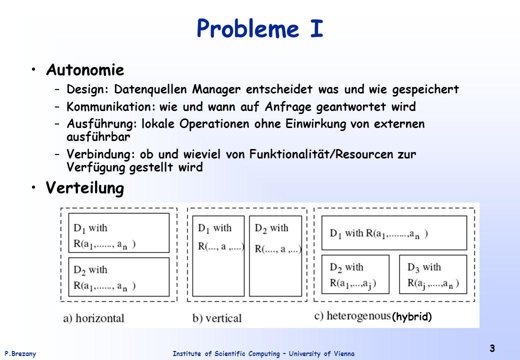 Institute of Scientific Computing – University of ViennaP.Brezany 4 Probleme II Heterogenität –Syntaktisch »Technisch: OS, Platform,...