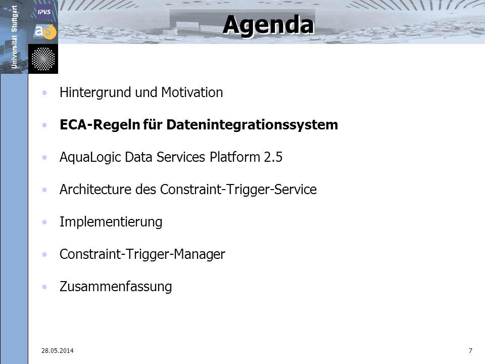 Universität Stuttgart 28.05.201418 Agenda Hintergrund und Motivation ECA-Regeln für Datenintegrationssystem AquaLogic Data Services Platform 2.5 Architecture des Constraint-Trigger-Service Implementierung Constraint-Trigger-Manager Zusammenfassung