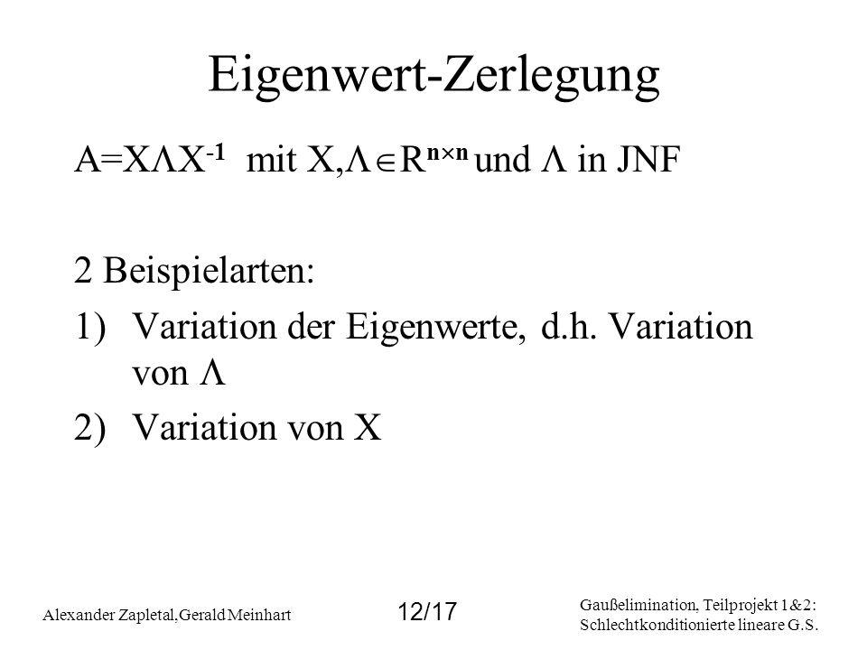 Gaußelimination, Teilprojekt 1&2: Schlechtkonditionierte lineare G.S. Alexander Zapletal,Gerald Meinhart 12/17 Eigenwert-Zerlegung A=X X -1 mit X, R n