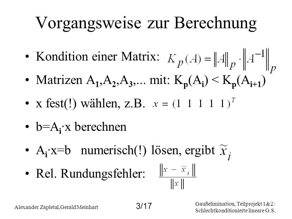 Gaußelimination, Teilprojekt 1&2: Schlechtkonditionierte lineare G.S. Alexander Zapletal,Gerald Meinhart 3/17 Vorgangsweise zur Berechnung Kondition e