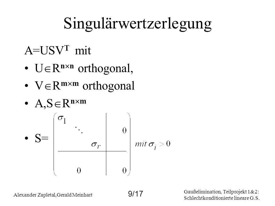 Gaußelimination, Teilprojekt 1&2: Schlechtkonditionierte lineare G.S. Alexander Zapletal,Gerald Meinhart 9/17 Singulärwertzerlegung A=USV T mit U R n
