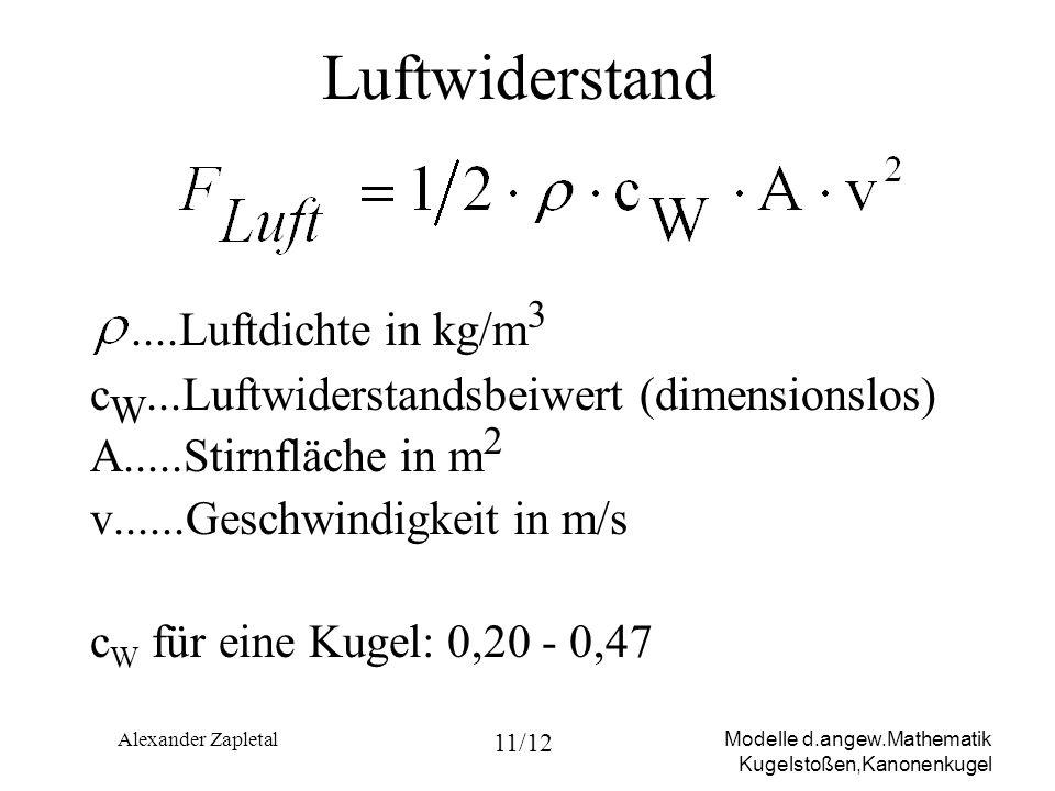 Modelle d.angew.Mathematik Kugelstoßen,Kanonenkugel Alexander Zapletal 11/12 Luftwiderstand....Luftdichte in kg/m 3 c W...Luftwiderstandsbeiwert (dime