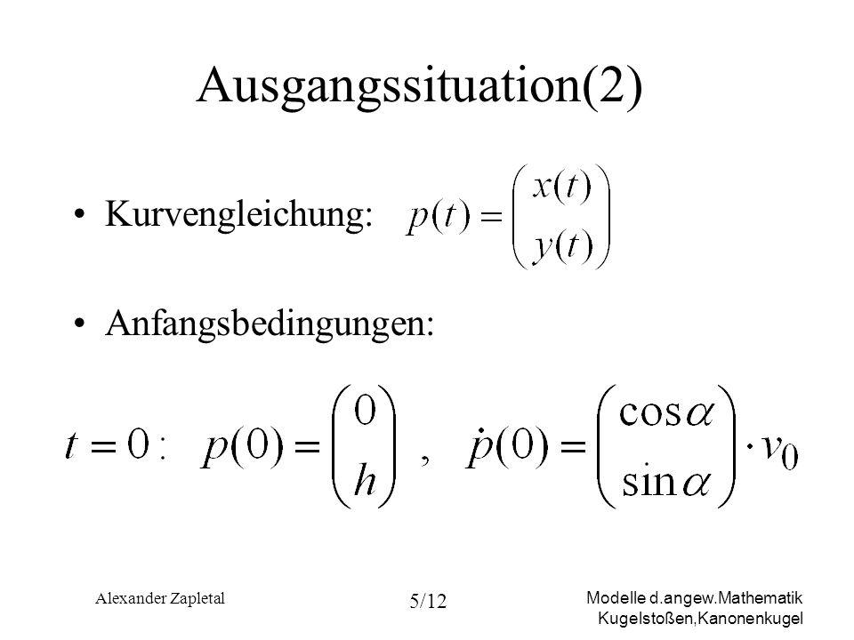 Modelle d.angew.Mathematik Kugelstoßen,Kanonenkugel Alexander Zapletal 5/12 Ausgangssituation(2) Kurvengleichung: Anfangsbedingungen: