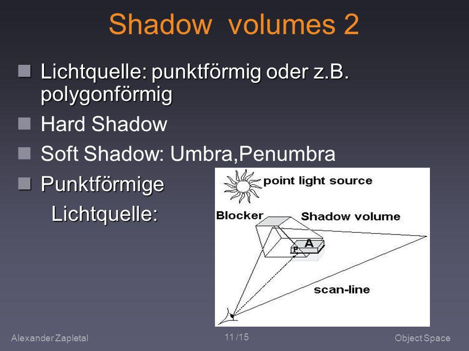 Alexander ZapletalObject Space 11 /15 Shadow volumes 2 Lichtquelle: punktförmig oder z.B.
