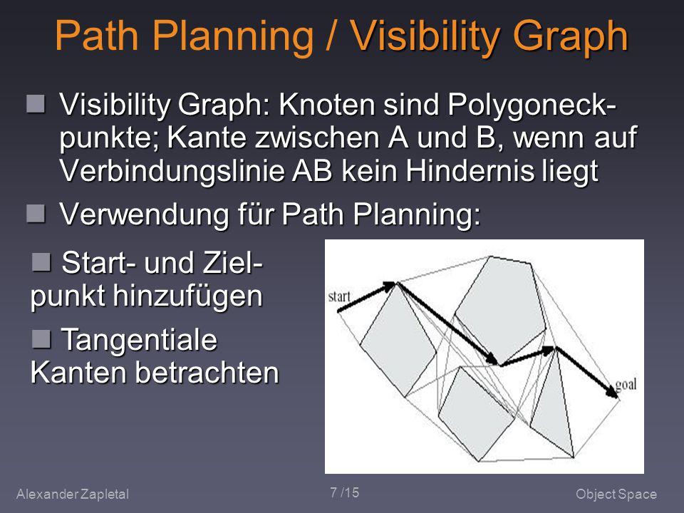 Alexander ZapletalObject Space 7 /15 Visibility Graph Path Planning / Visibility Graph Visibility Graph: Knoten sind Polygoneck- punkte; Kante zwischen A und B, wenn auf Verbindungslinie AB kein Hindernis liegt Visibility Graph: Knoten sind Polygoneck- punkte; Kante zwischen A und B, wenn auf Verbindungslinie AB kein Hindernis liegt Verwendung für Path Planning: Verwendung für Path Planning: Start- und Ziel- punkt hinzufügen Start- und Ziel- punkt hinzufügen Tangentiale Kanten betrachten Tangentiale Kanten betrachten