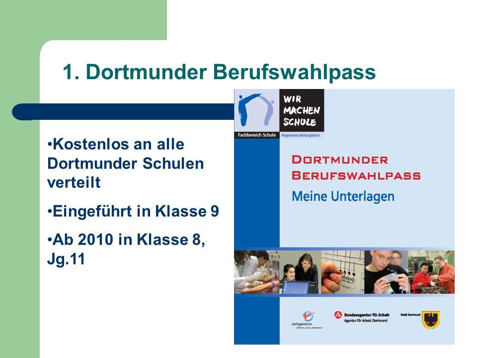 1. Dortmunder Berufswahlpass Kostenlos an alle Dortmunder Schulen verteilt Eingeführt in Klasse 9 Ab 2010 in Klasse 8, Jg.11