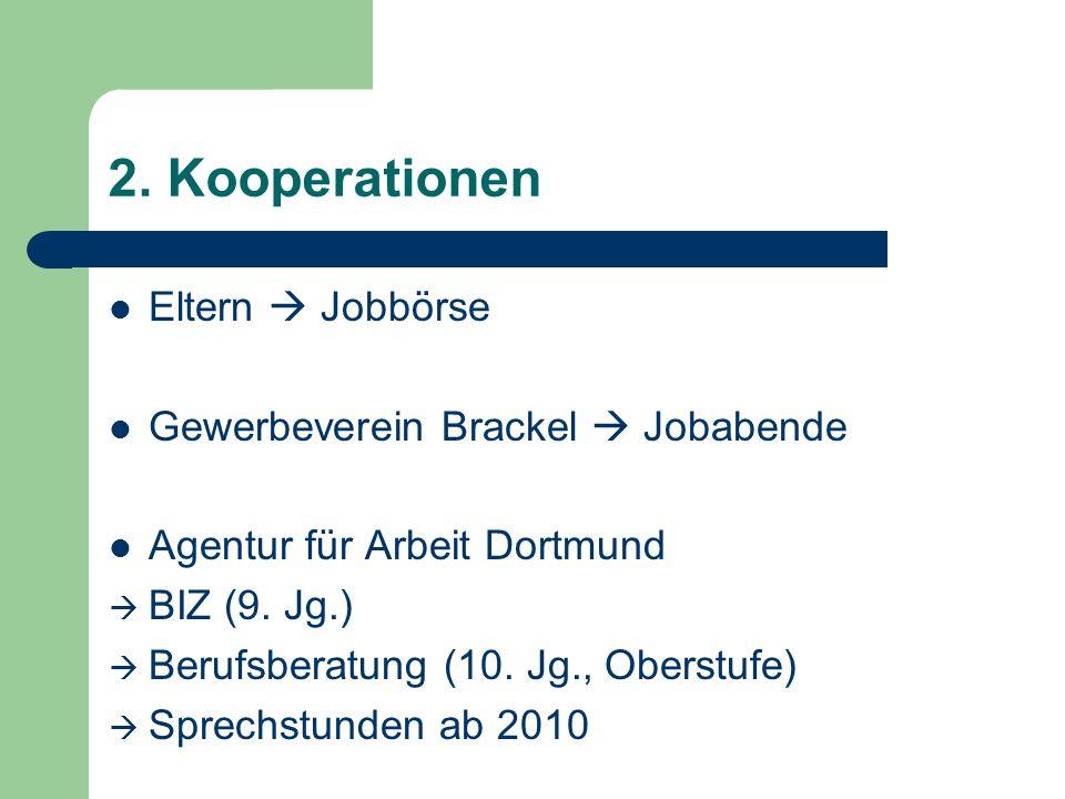 2. Kooperationen Eltern Jobbörse Gewerbeverein Brackel Jobabende Agentur für Arbeit Dortmund BIZ (9. Jg.) Berufsberatung (10. Jg., Oberstufe) Sprechst