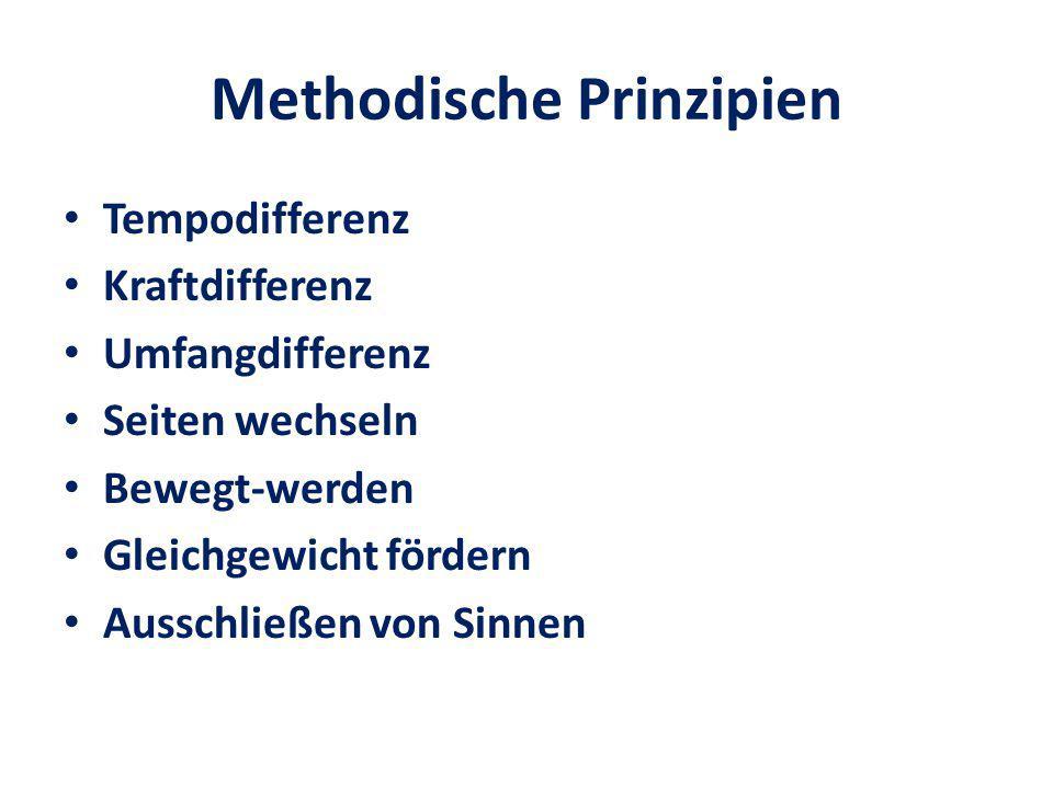 Methodische Prinzipien Tempodifferenz Kraftdifferenz Umfangdifferenz Seiten wechseln Bewegt-werden Gleichgewicht fördern Ausschließen von Sinnen