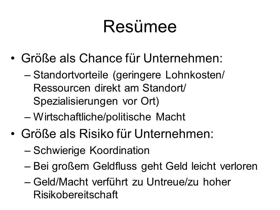 Resümee Größe als Chance für Unternehmen: –Standortvorteile (geringere Lohnkosten/ Ressourcen direkt am Standort/ Spezialisierungen vor Ort) –Wirtscha