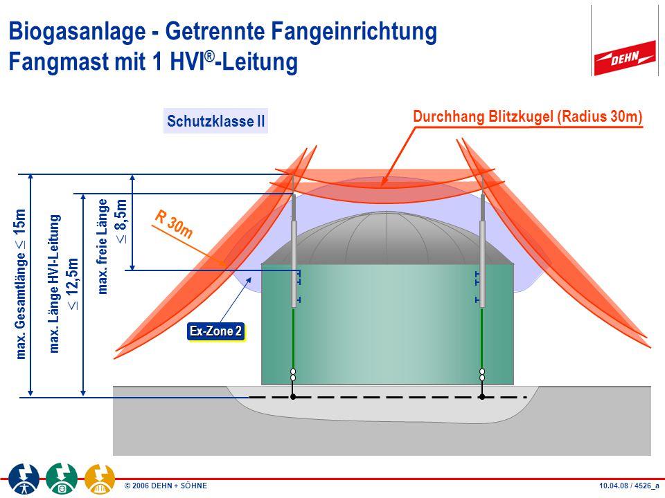 © 2006 DEHN + SÖHNE26.09.06 / 4526_b Biogasanlage - Getrennte Fangeinrichtung Fangmast mit 1 HVI ® -Leitung A A Durchhang Blitzkugel (Radius 30m) R30m Schnitt A-A Ex-Zone 2 Schutzklasse II Befestigt mit Bolzenanker