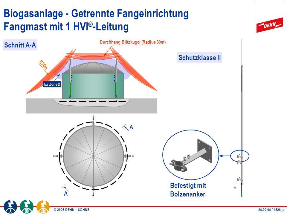 © 2006 DEHN + SÖHNE10.04.08 / 4526_c Biogasanlage - Getrennte Fangeinrichtung Fangmast mit 2 HVI ® -Leitungen R30m Ex-Zone 2 >0,2m Schutzklasse II Durchhang Blitzkugel (Radius 30m) max.