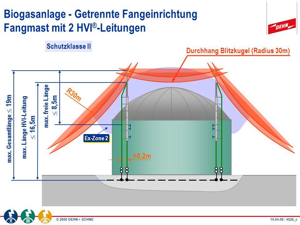 © 2006 DEHN + SÖHNE26.09.06 / 4526_d Biogasanlage - Getrennte Fangeinrichtung Fangmast mit 2 HVI ® -Leitungen Schnitt A-A A A Ex-Zone 2 >0,2m Befestigt mit Bolzenanker Durchhang Blitzkugel (Radius 30m) R30m Schutzklasse II
