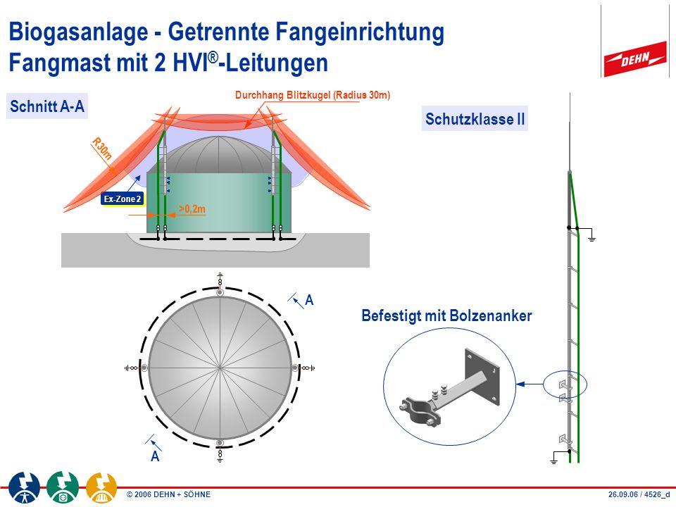 © 2006 DEHN + SÖHNE Fangeinrichtung Biogasanlage Fangmast mit 1 HVI ® -Leitung I - teilbar Art.-Nr.