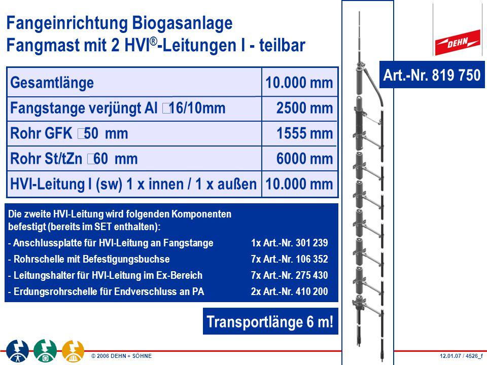 © 2006 DEHN + SÖHNE Fangeinrichtung Biogasanlage Fangmast mit 2 HVI ® -Leitungen I - teilbar Die zweite HVI-Leitung wird folgenden Komponenten befesti