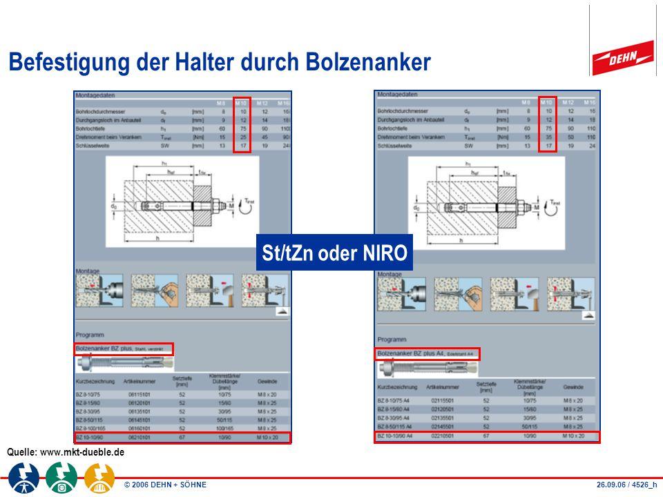 © 2006 DEHN + SÖHNE Befestigung der Halter durch Bolzenanker Quelle: www.mkt-dueble.de St/tZn oder NIRO 26.09.06 / 4526_h