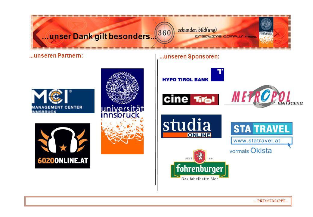 ...unseren Partnern:...unser Dank gilt besonders...... PRESSEMAPPE......unseren Sponsoren: