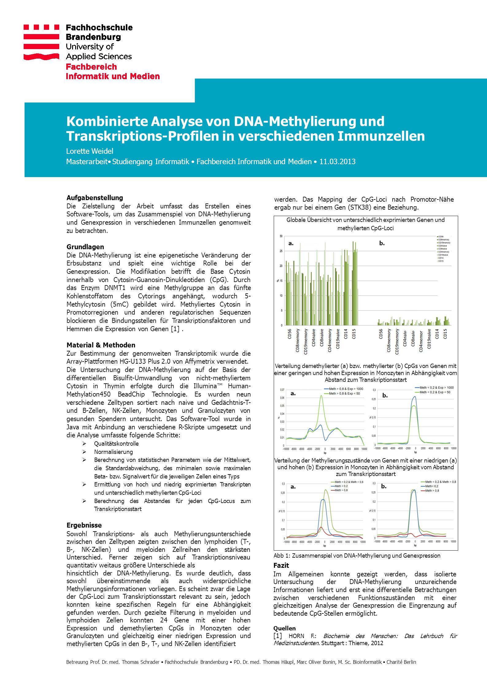 Aufgabenstellung Die Zielstellung der Arbeit umfasst das Erstellen eines Software-Tools, um das Zusammenspiel von DNA-Methylierung und Genexpression i