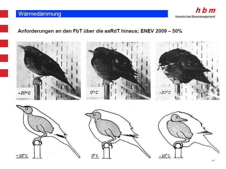 h b m Hessisches Baumanagement 20 Wärmedämmung Anforderungen an den FbT über die aaRdT hinaus; ENEV 2009 – 50%