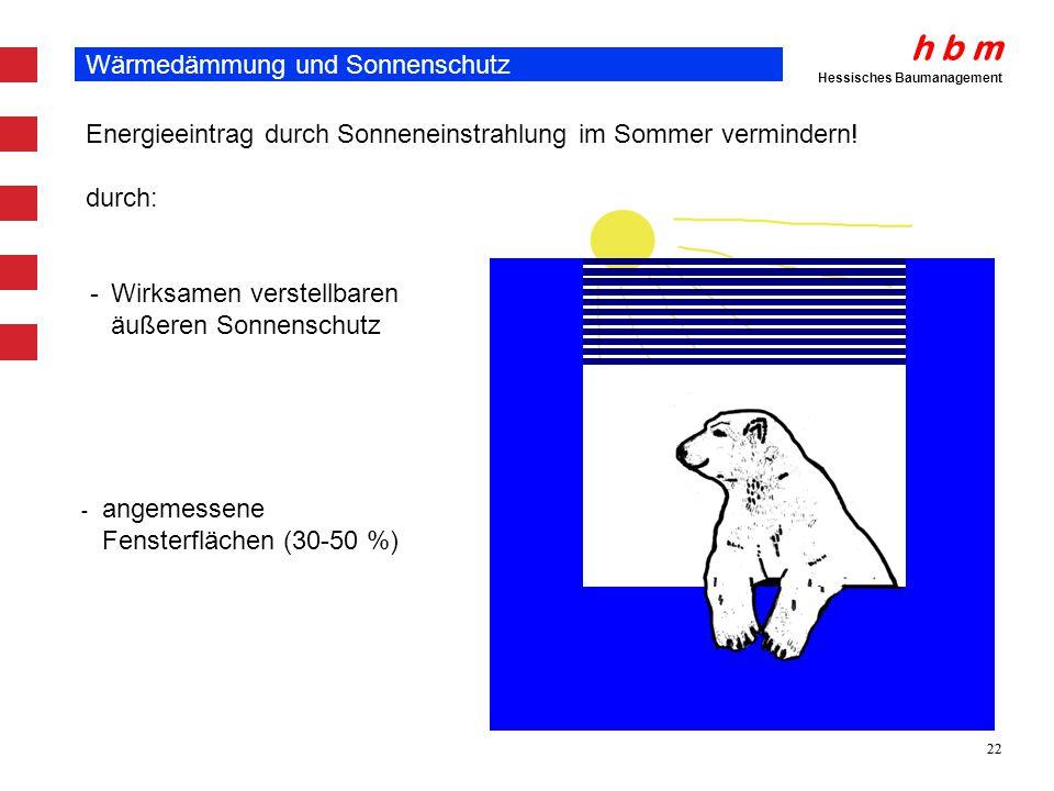 h b m Hessisches Baumanagement 22 Wärmedämmung und Sonnenschutz Energieeintrag durch Sonneneinstrahlung im Sommer vermindern! - Wirksamen verstellbare