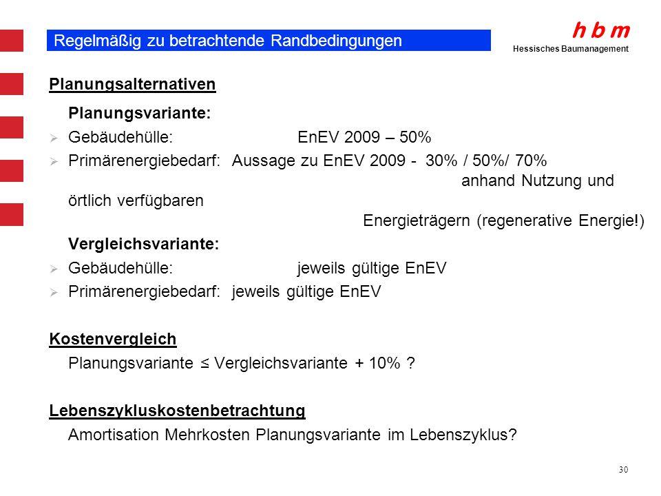 h b m Hessisches Baumanagement 30 Regelmäßig zu betrachtende Randbedingungen Planungsalternativen Planungsvariante: Gebäudehülle: EnEV 2009 – 50% Prim