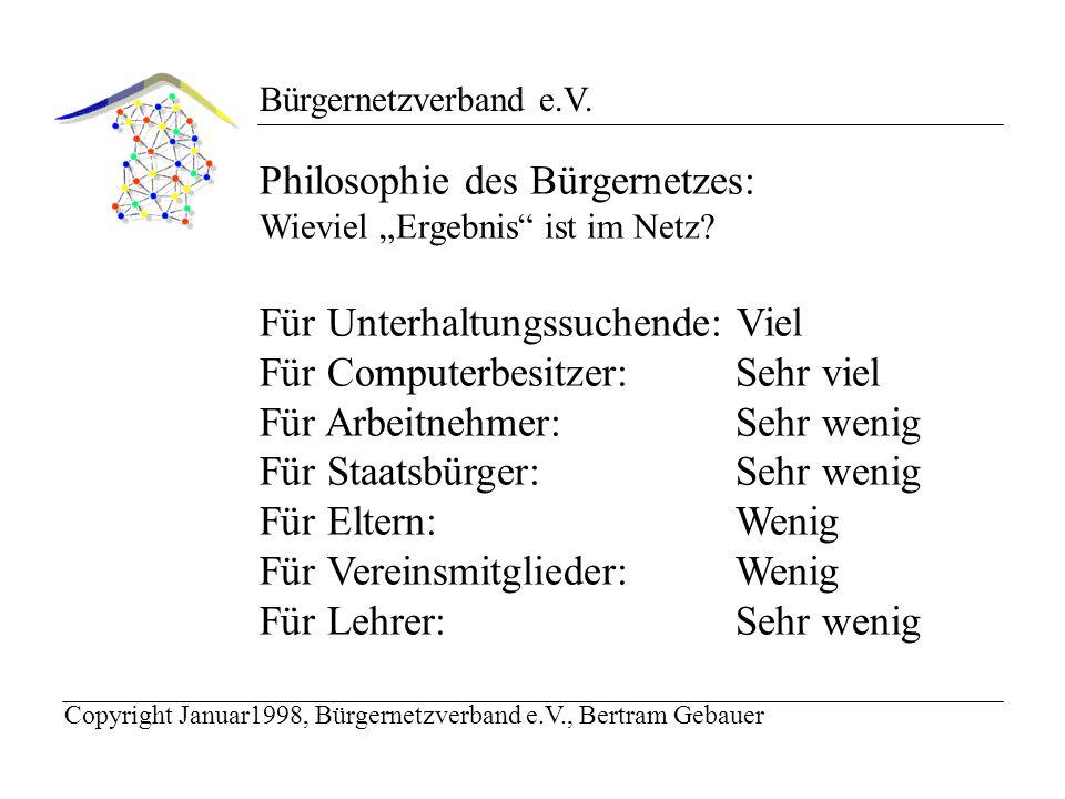 Bürgernetzverband e.V. Philosophie des Bürgernetzes: Wieviel Ergebnis ist im Netz.
