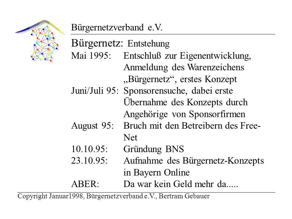 Bürgernetzverband e.V.Bürgernetz: Entstehung Dezember 1995: Gründung des Bürgernetzverband e.V.