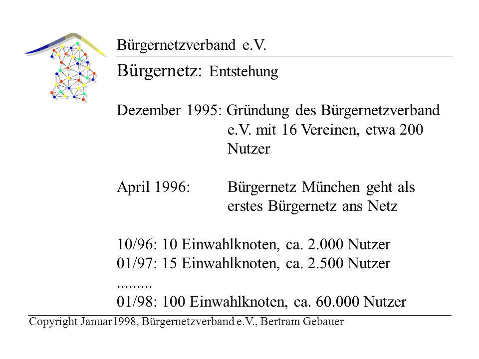 Bürgernetzverband e.V. Bürgernetz: Entstehung Dezember 1995: Gründung des Bürgernetzverband e.V.