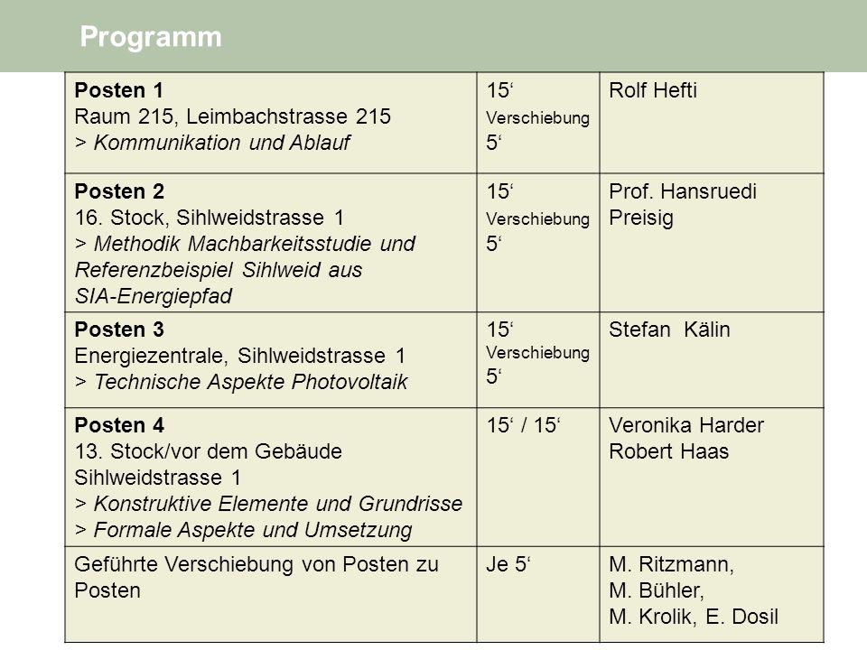 Programm Posten 1 Raum 215, Leimbachstrasse 215 > Kommunikation und Ablauf 15 Verschiebung 5 Rolf Hefti Posten 2 16.