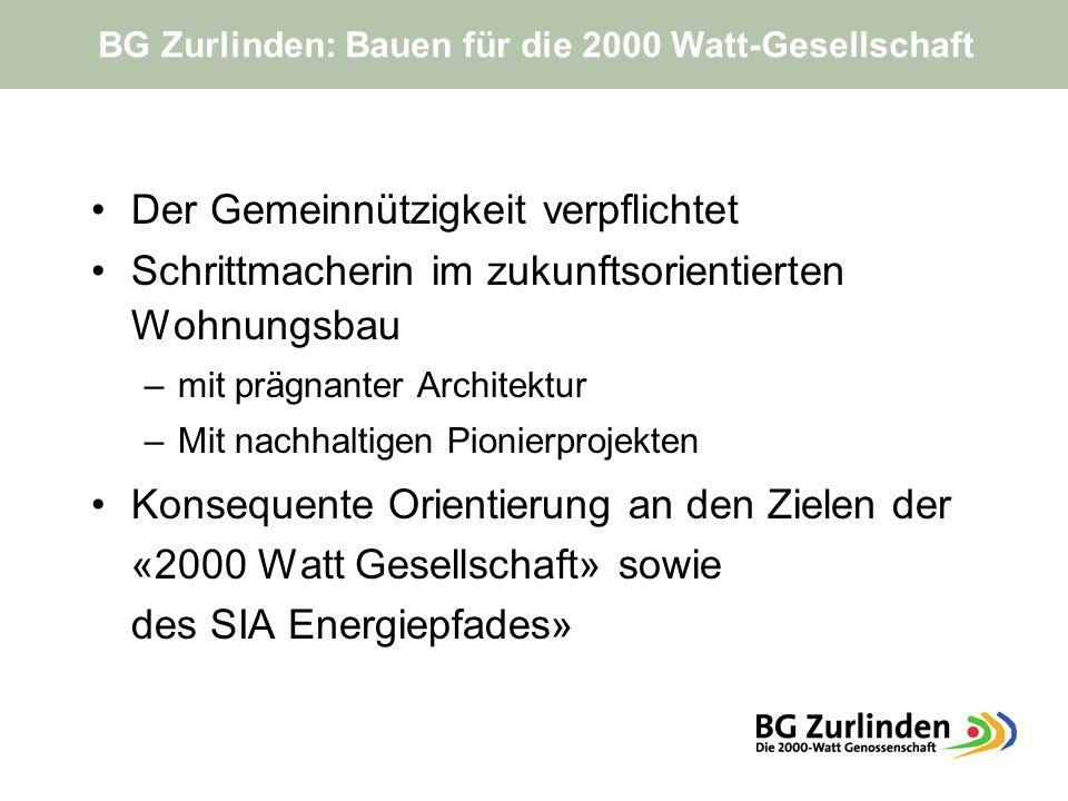 Der Gemeinnützigkeit verpflichtet Schrittmacherin im zukunftsorientierten Wohnungsbau –mit prägnanter Architektur –Mit nachhaltigen Pionierprojekten Konsequente Orientierung an den Zielen der «2000 Watt Gesellschaft» sowie des SIA Energiepfades» BG Zurlinden: Bauen für die 2000 Watt-Gesellschaft
