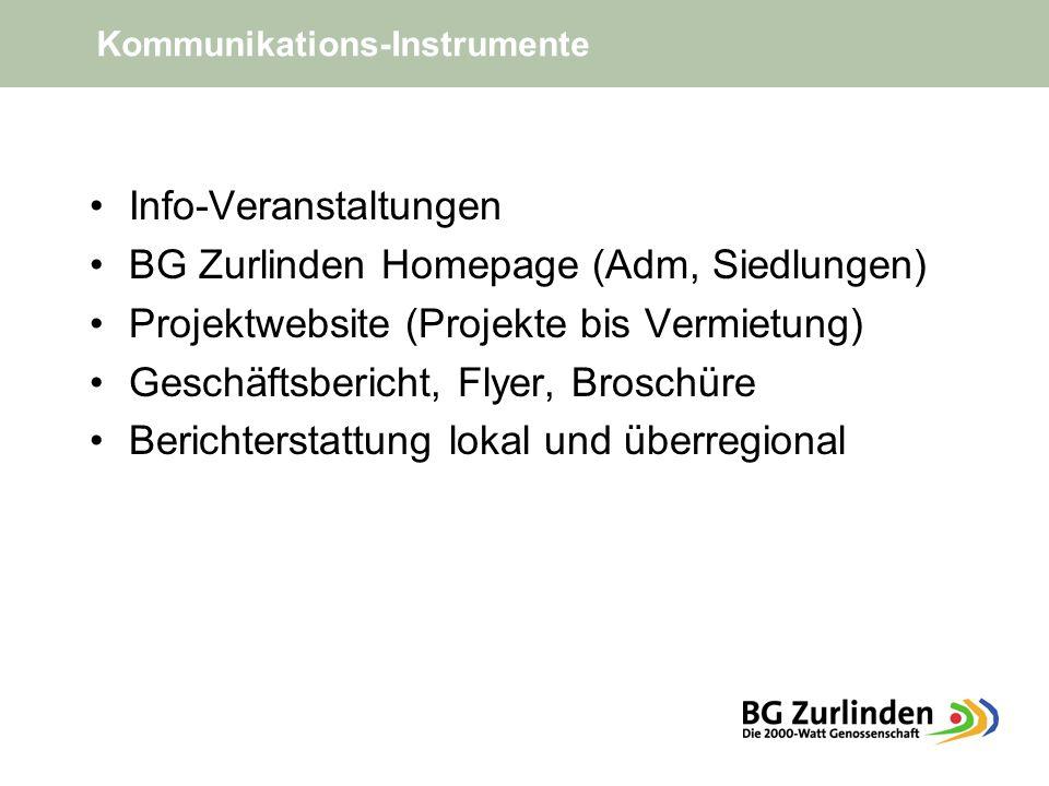 These: Ökologie = Ökonomie Info-Veranstaltungen BG Zurlinden Homepage (Adm, Siedlungen) Projektwebsite (Projekte bis Vermietung) Geschäftsbericht, Flyer, Broschüre Berichterstattung lokal und überregional Kommunikations-Instrumente