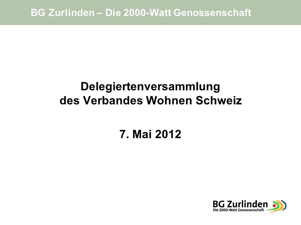 Delegiertenversammlung des Verbandes Wohnen Schweiz 7. Mai 2012 BG Zurlinden – Die 2000-Watt Genossenschaft