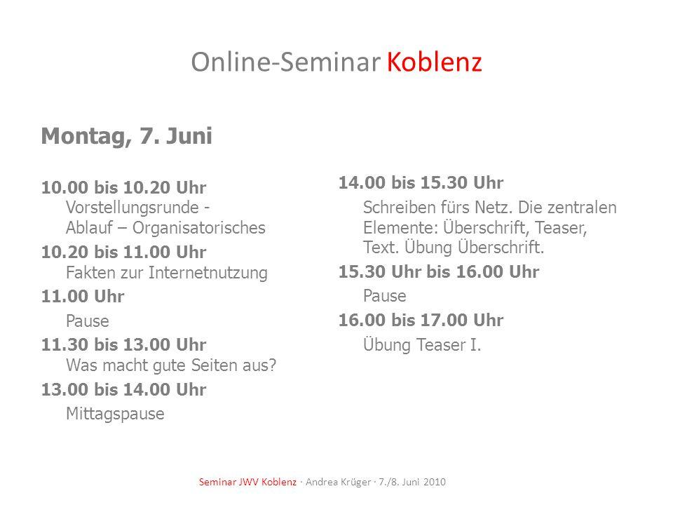 Online-Seminar Koblenz Dienstag, 8.Juni 10.00 bis 12.00 Uhr Schreiben fürs Netz – Fortsetzung.