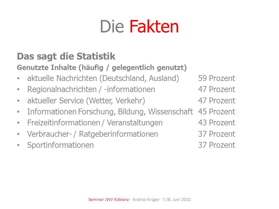 Die Fakten Das sagt die Statistik Genutzte Inhalte (häufig / gelegentlich genutzt) aktuelle Nachrichten (Deutschland, Ausland) 59 Prozent Regionalnach