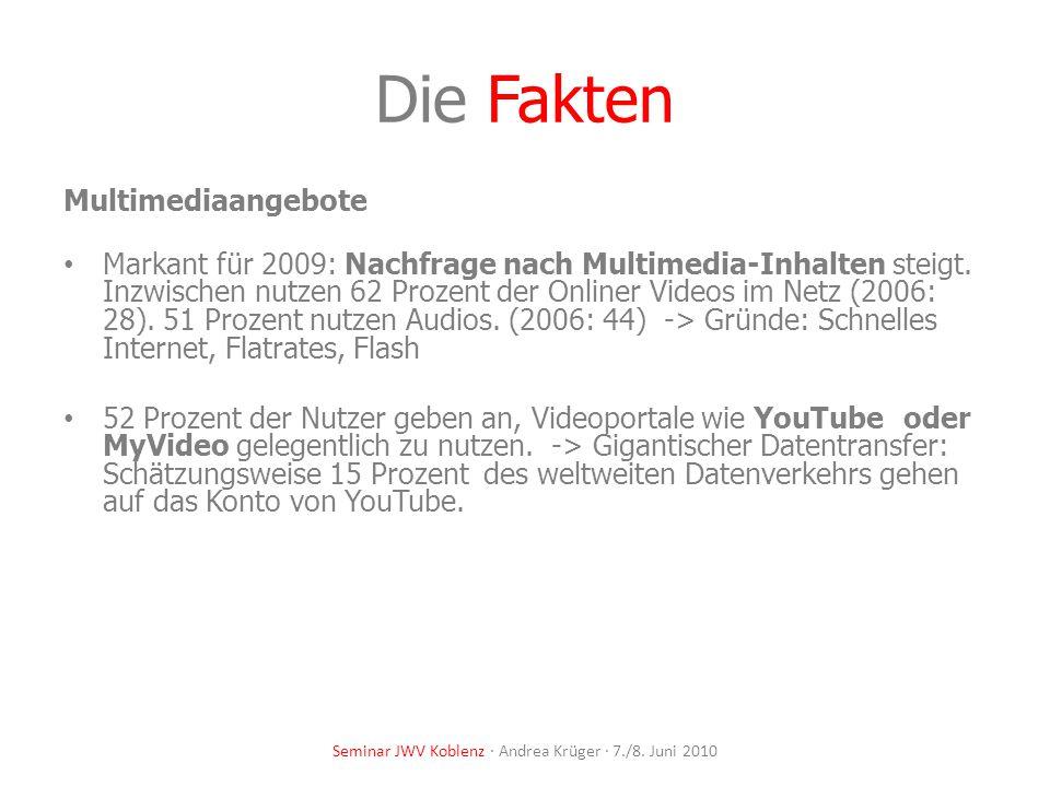 Seminar JWV Koblenz · Andrea Krüger · 7./8. Juni 2010 Die Fakten Multimediaangebote Markant für 2009: Nachfrage nach Multimedia-Inhalten steigt. Inzwi