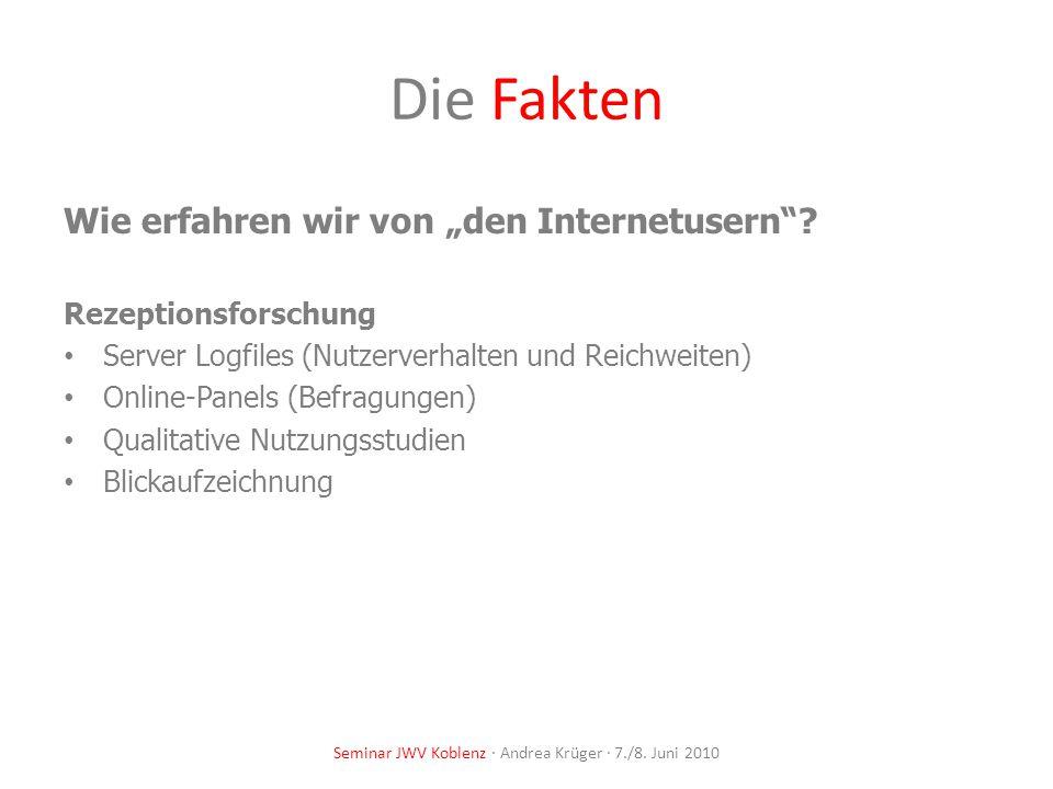 Seminar JWV Koblenz · Andrea Krüger · 7./8. Juni 2010 Die Fakten Wie erfahren wir von den Internetusern? Rezeptionsforschung Server Logfiles (Nutzerve