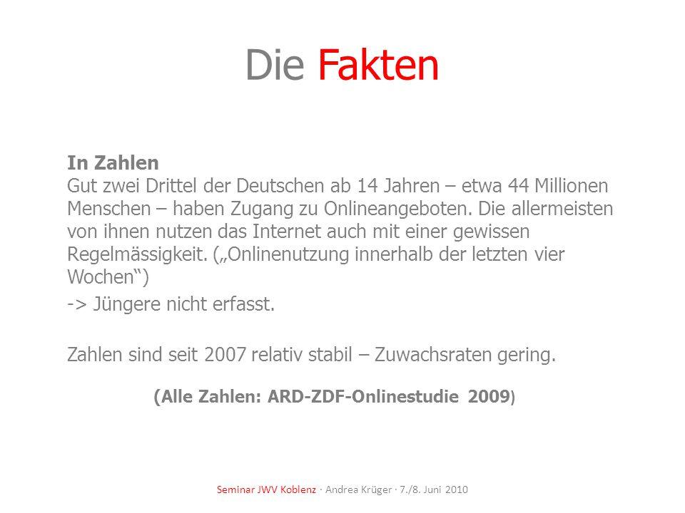 Seminar JWV Koblenz · Andrea Krüger · 7./8. Juni 2010 Die Fakten In Zahlen Gut zwei Drittel der Deutschen ab 14 Jahren – etwa 44 Millionen Menschen –