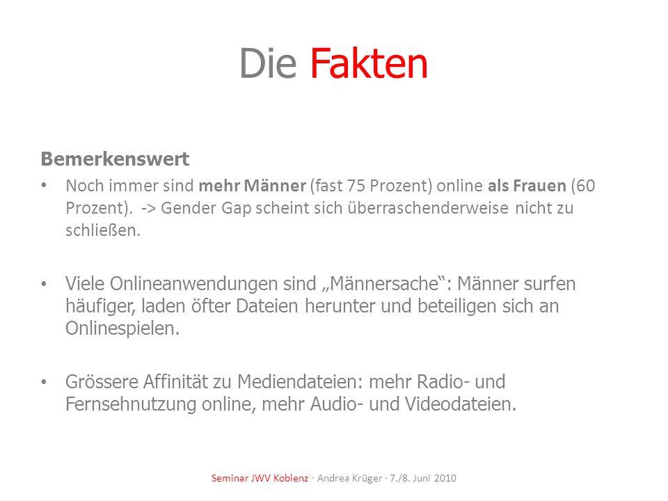 Die Fakten Warum gehen wir online? Seminar JWV Koblenz · Andrea Krüger · 7./8. Juni 2010