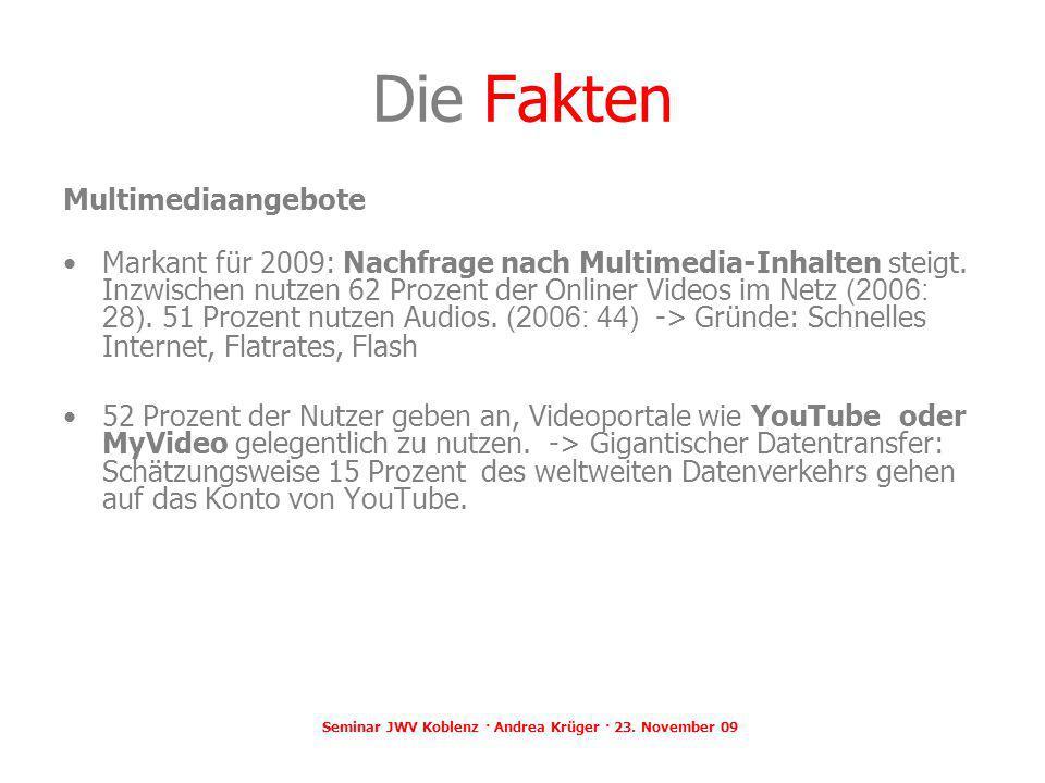 Seminar JWV Koblenz · Andrea Krüger · 23. November 09 Die Fakten Multimediaangebote Markant für 2009: Nachfrage nach Multimedia-Inhalten steigt. Inzwi