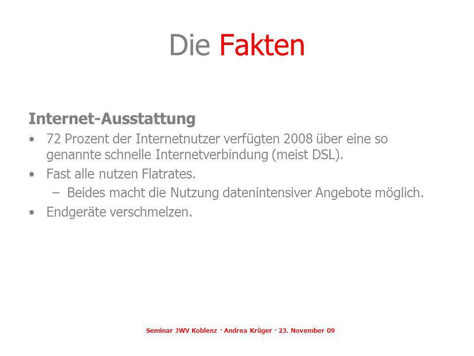 Die Fakten Internet-Ausstattung 72 Prozent der Internetnutzer verfügten 2008 über eine so genannte schnelle Internetverbindung (meist DSL). Fast alle