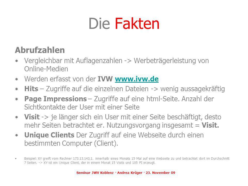 Seminar JWV Koblenz · Andrea Krüger · 23. November 09 Die Fakten Abrufzahlen Vergleichbar mit Auflagenzahlen -> Werbeträgerleistung von Online-Medien
