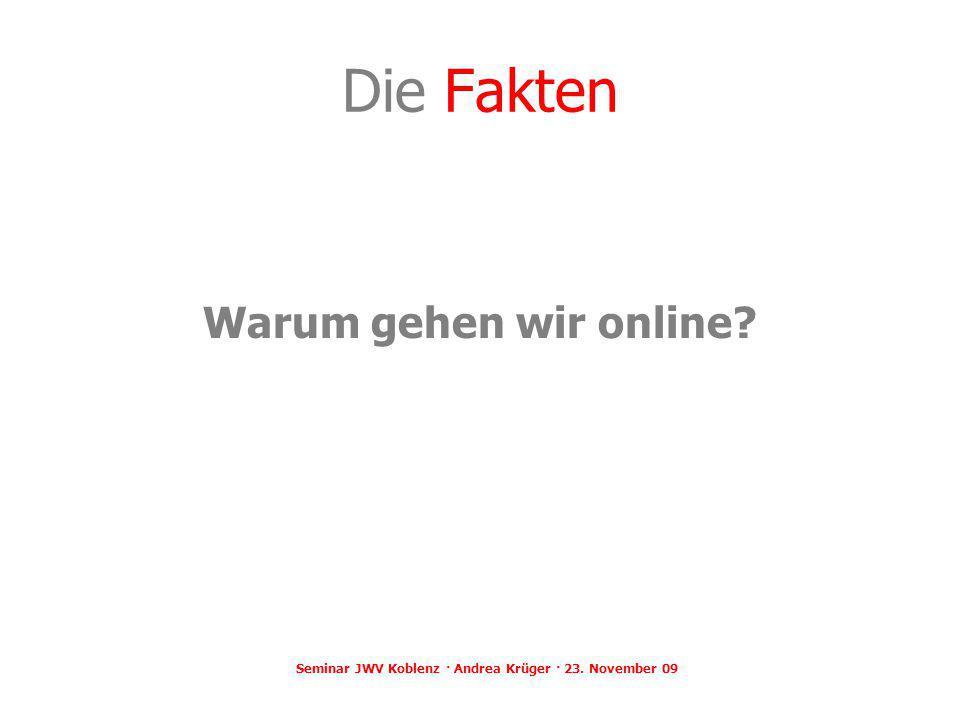 Die Fakten Warum gehen wir online? Seminar JWV Koblenz · Andrea Krüger · 23. November 09