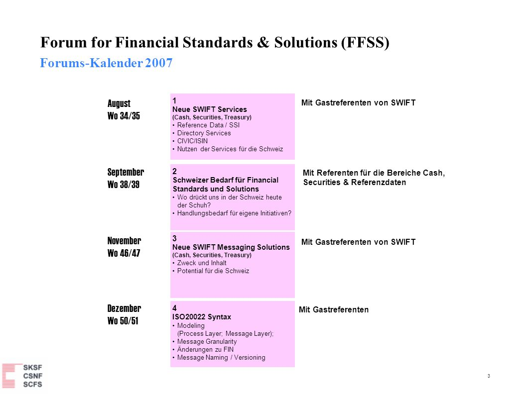 3 Forum for Financial Standards & Solutions (FFSS) Forums-Kalender 2007 August Wo 34/35 September Wo 38/39 November Wo 46/47 Dezember Wo 50/51 Mit Gas