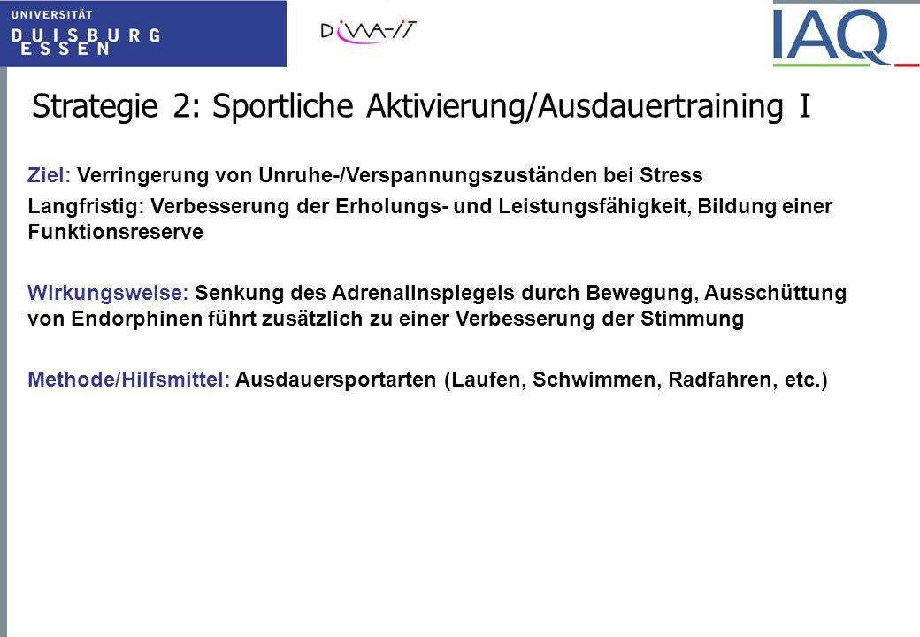 Strategie 2: Sportliche Aktivierung/Ausdauertraining III Was ist zu beachten.