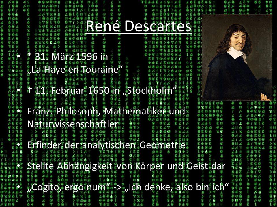 René Descartes * 31.März 1596 in La Haye en Touraine 11.