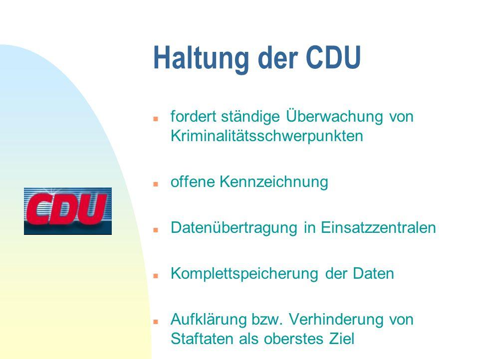 Haltung der CDU n fordert ständige Überwachung von Kriminalitätsschwerpunkten n offene Kennzeichnung n Datenübertragung in Einsatzzentralen n Komplett