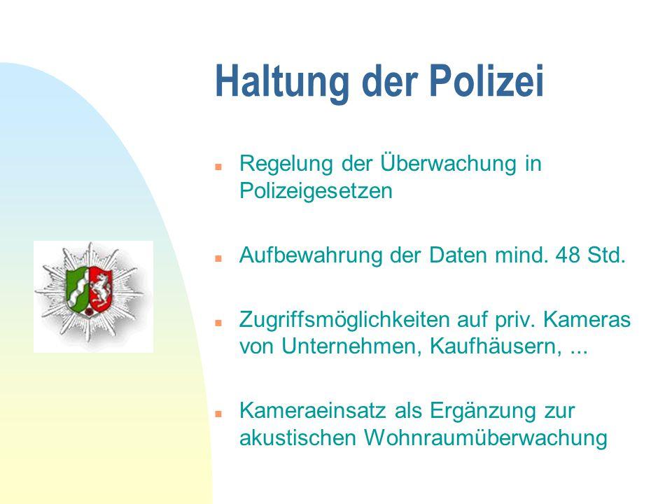 Haltung der Polizei n Regelung der Überwachung in Polizeigesetzen n Aufbewahrung der Daten mind. 48 Std. n Zugriffsmöglichkeiten auf priv. Kameras von