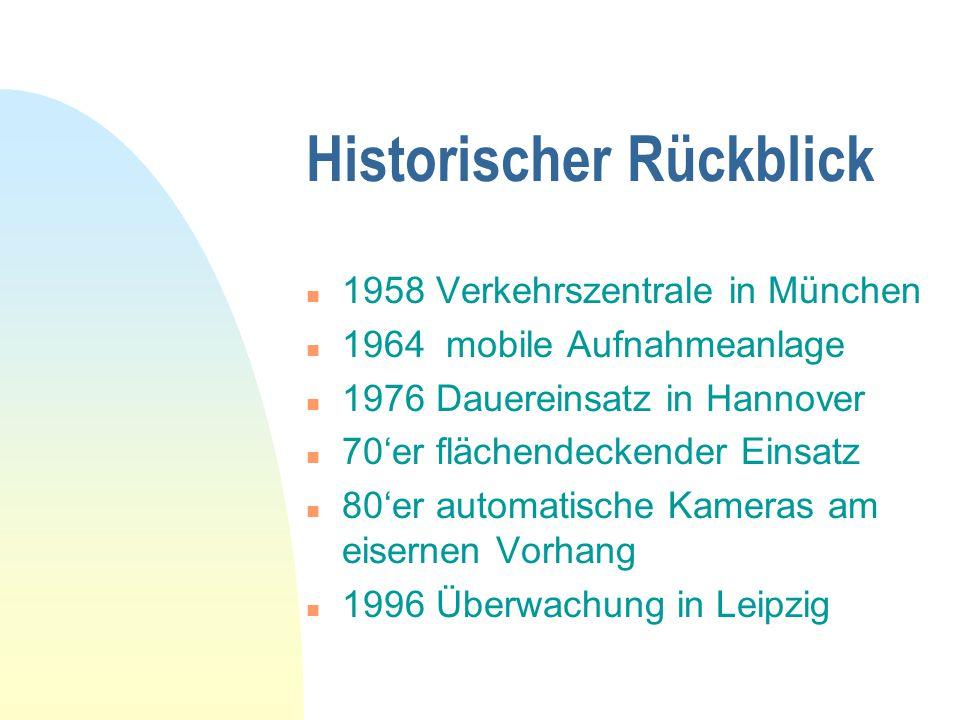 Historischer Rückblick n 1958 Verkehrszentrale in München n 1964 mobile Aufnahmeanlage n 1976 Dauereinsatz in Hannover n 70er flächendeckender Einsatz